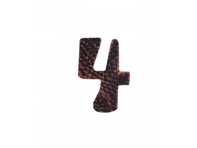 """Kovaná číslica """"4"""" meď"""