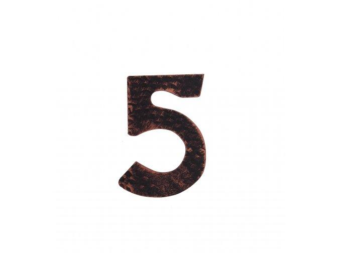 """Kovaná číslica """"5"""" meď"""