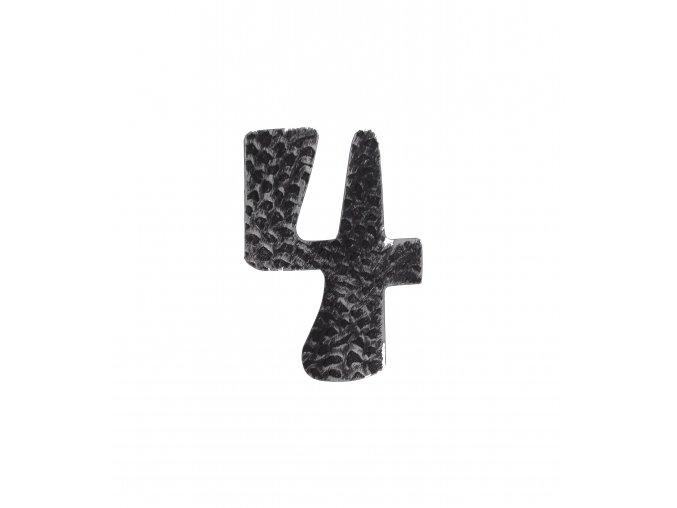 """Kovaná číslica """"4"""" striebro"""