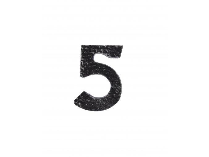 """Kovaná číslica """"5"""" striebro"""