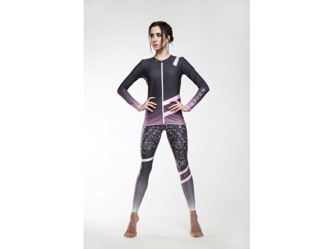 fitness top s dlouhým rukávem na zip