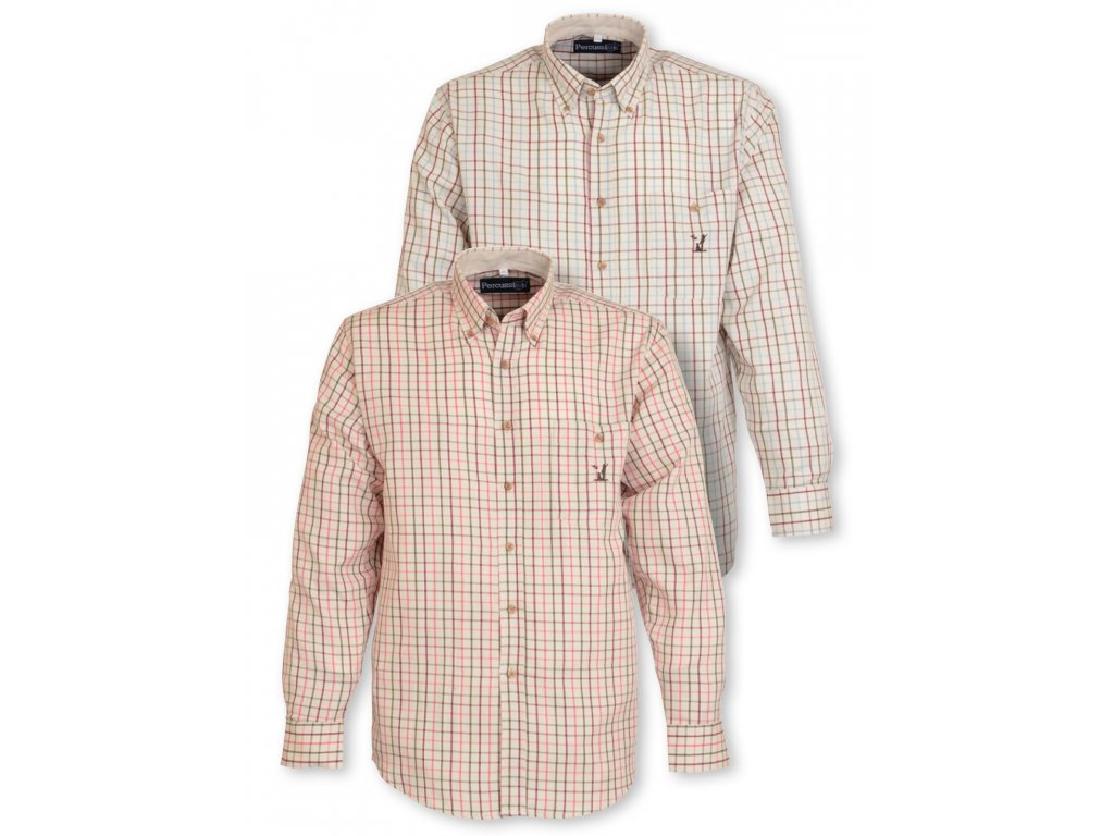 Percussion Small-check košile - béžová/růžová