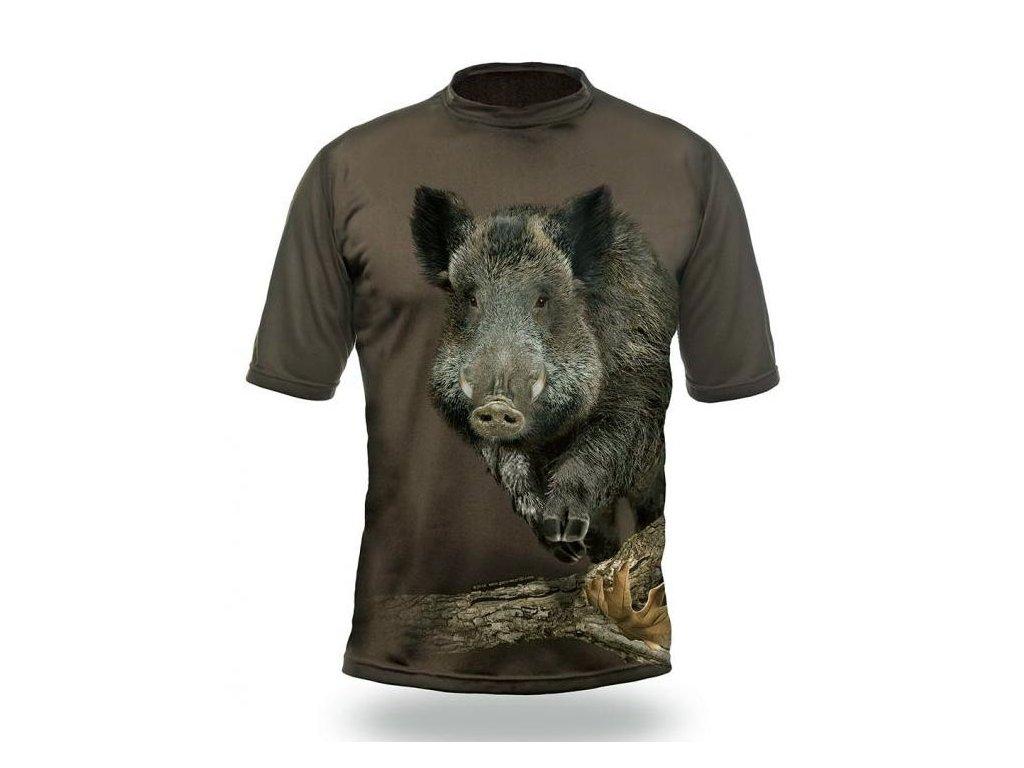 Hillman Myslivecké tričko kr. rukáv Divočák 3D b. Dub