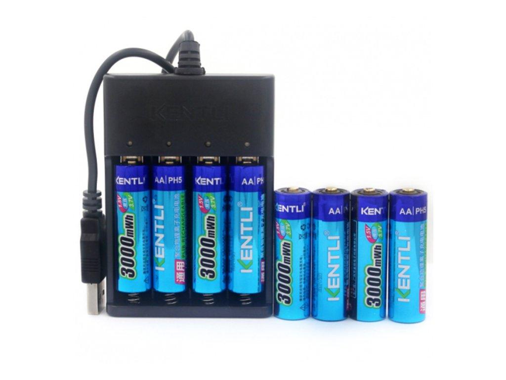 baterie aa kentli 8ks 3000mwh dobijeci usb nabijecka original