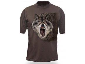 vyr 1363Myslivecke tricko kr rukav Vlk hlava 3D b Dub (1)