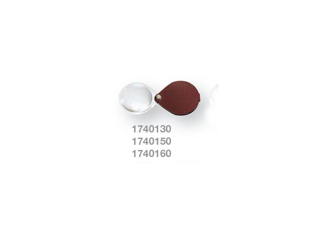Kapesní lupa v koženém pouzdře zv.  6,0x