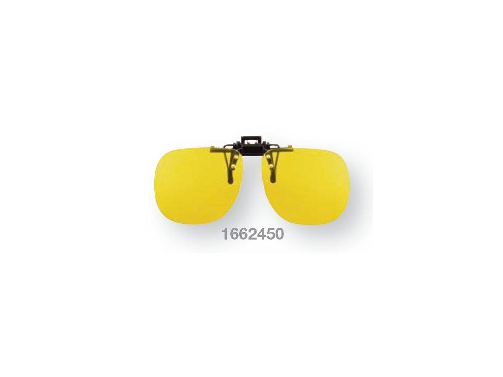 Filtrační klip na dioptrické brýle - žlutý s polarizací