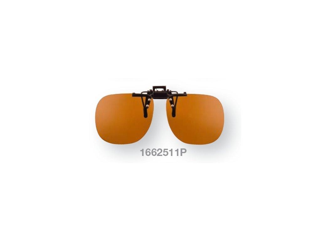 Filtrační klip na dioptrické brýle - světle oranžový s polarizací