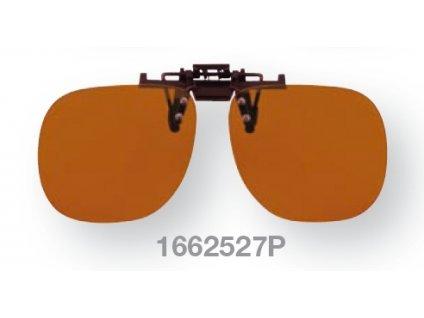 Filtrační klip na dioptrické brýle - oranžový s polarizací