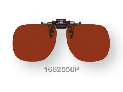Filtrační klip na dioptrické brýle - jantarový s polarizací