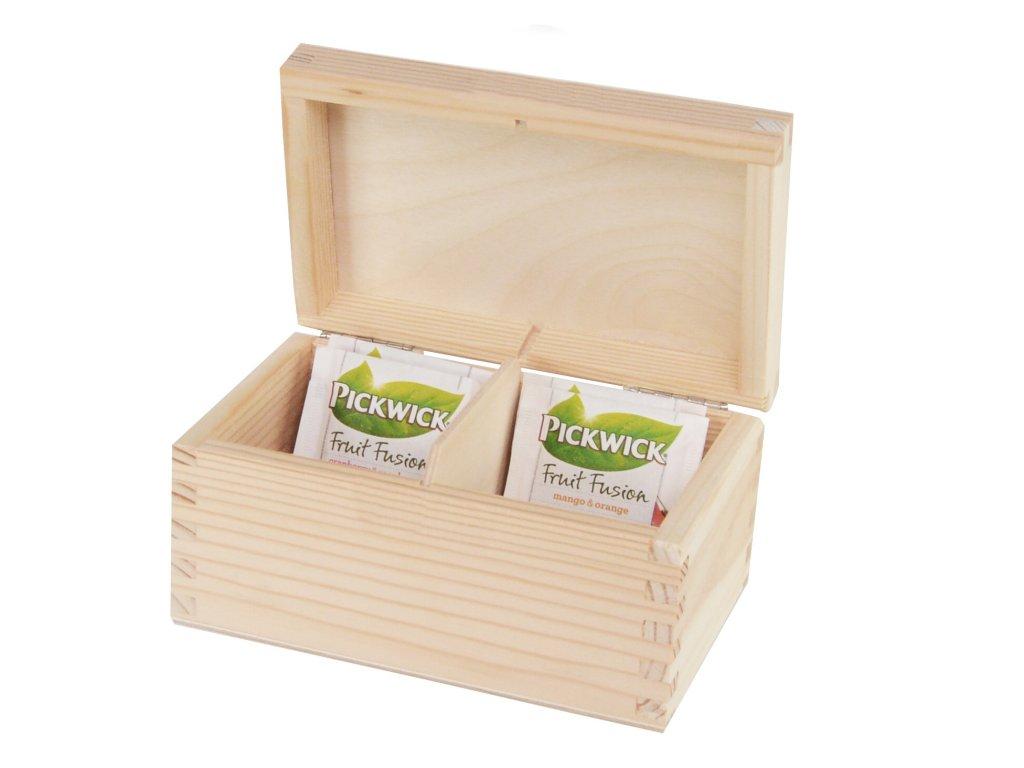 4583 drevena krabicka na caj s dvema prihradkami