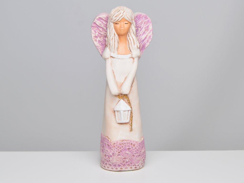 Soška anděla s lucernou, s fialovými křídly - v. 23 cm