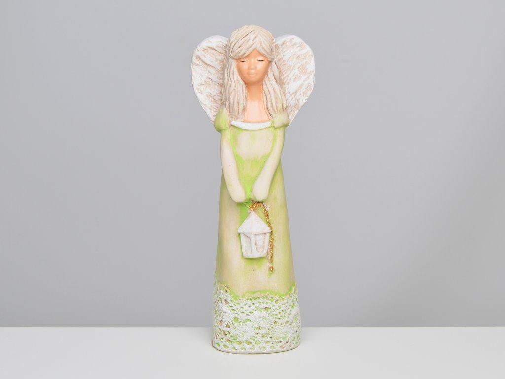 Soška anděla s lucernou, hráškově zelená - v. 23 cm