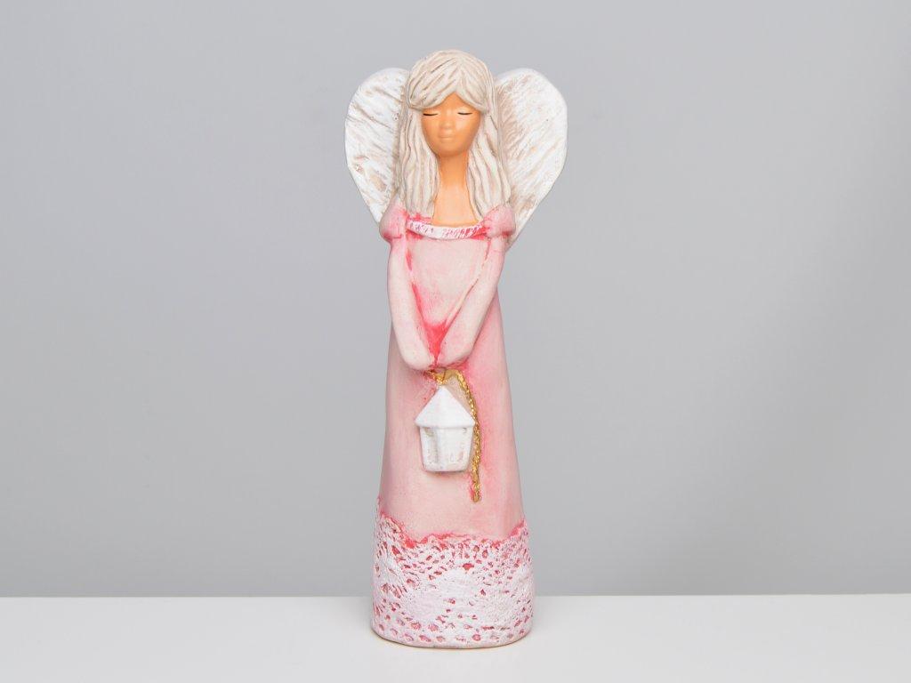 Soška anděla s lucernou, červená - v. 23 cm