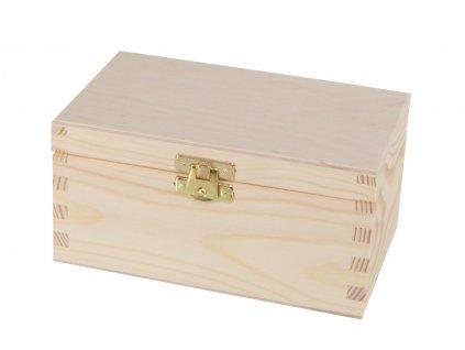4586 1 drevena krabicka na caj s dvema prihradkami a zapinanim
