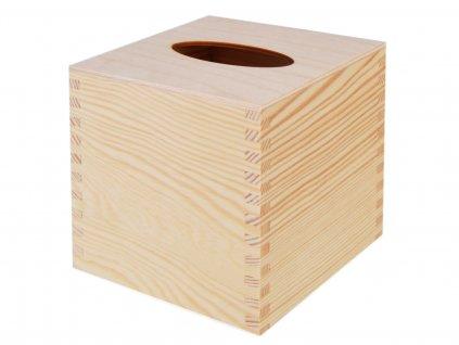 4355 drevena krabicka na papirove kapesniky ctvercova s vysuvnym dnem