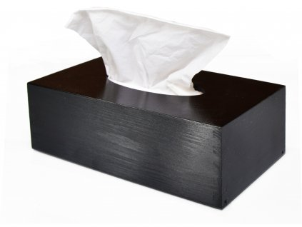3545 drevena krabicka na papirove kapesniky cerna s vysuvnym dnem