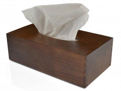 3542 1 drevena krabicka na papirove kapesniky tmave hneda s vysuvnym dnem