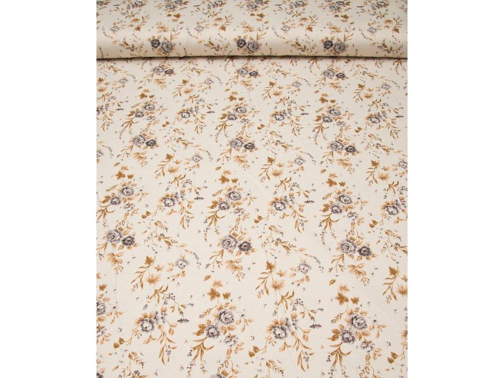 Dekorační látka - Sonja kombinace šedý květ