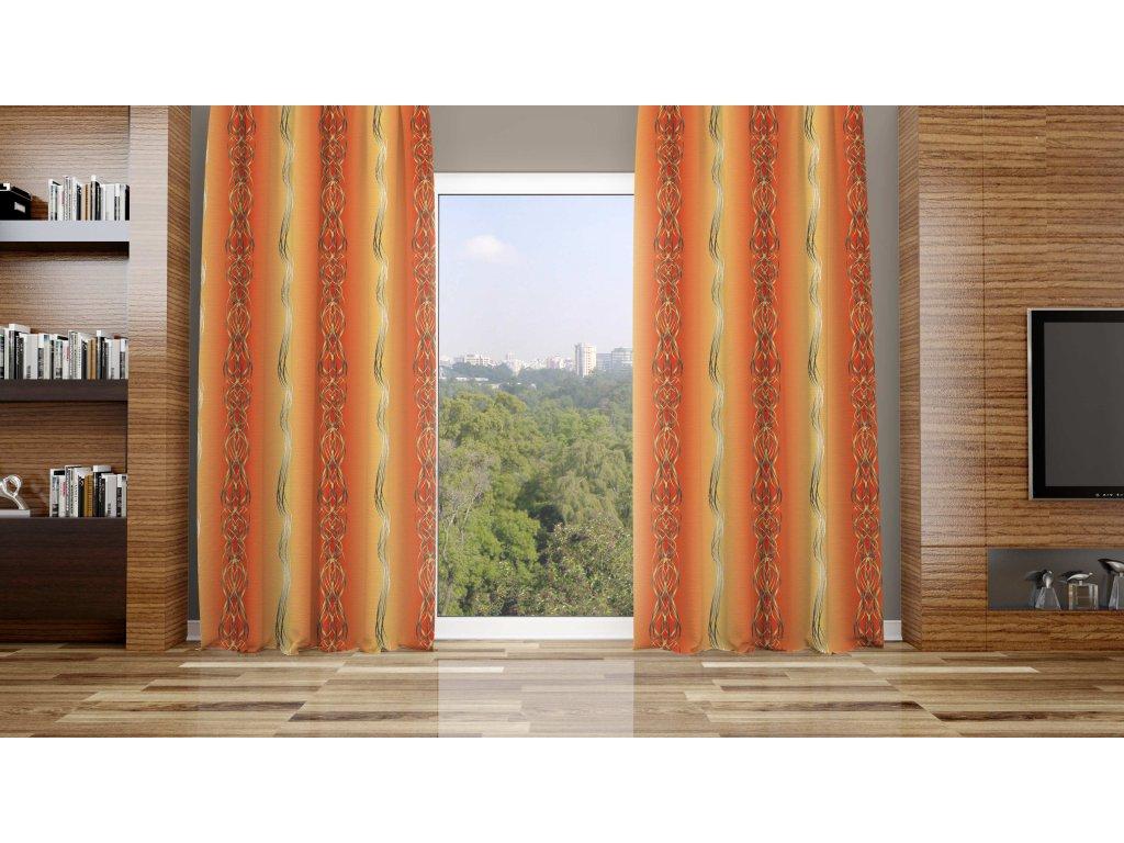 Zatemňovací látka na závěsy šíře 150cm - copy oranžové