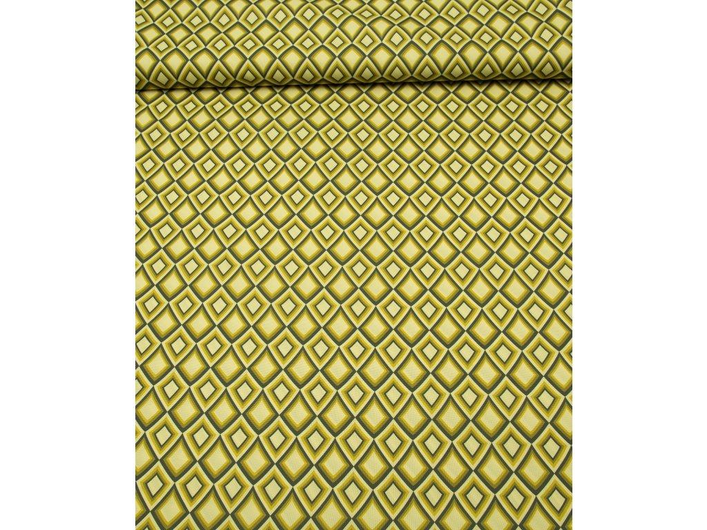 Kočárkovina metráž šíře 160 cm, nepromokavá látka, vzor kosočtverce zelené