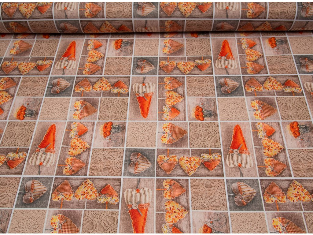 Látka s nešpinivou úpravou šíře 160 cm, srdce oranžové