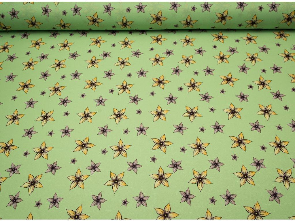 Látka s nešpinivou úpravou šíře 160 cm, kytička zelená