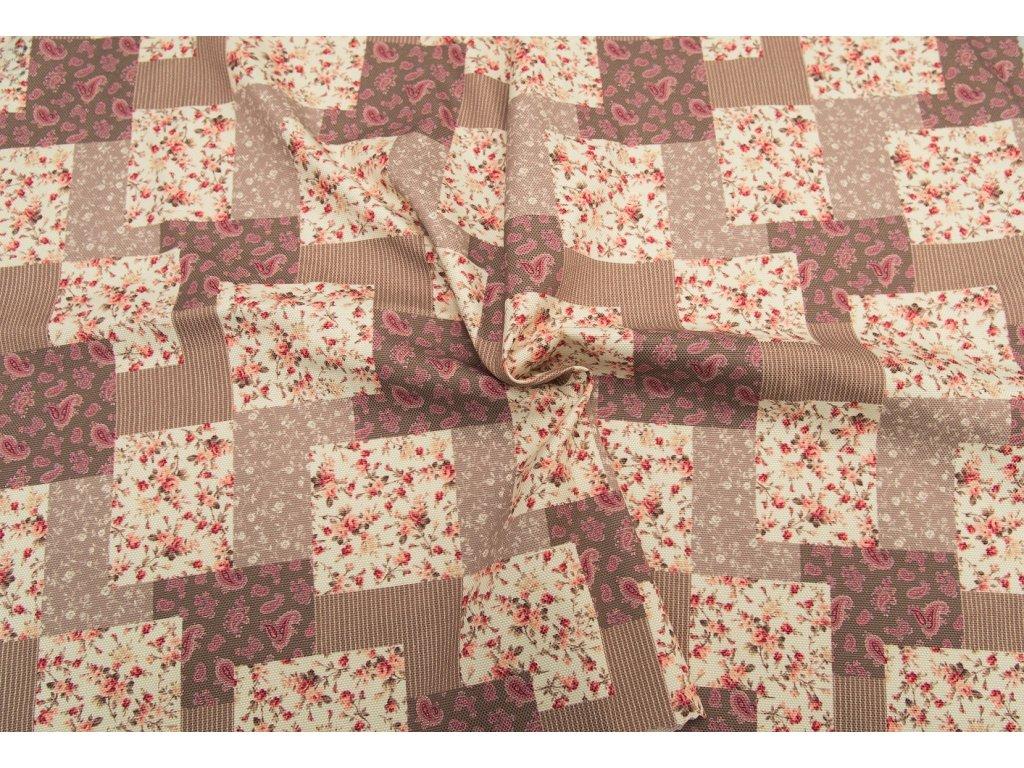 Dekorační látka - Sonja béžový patchwork