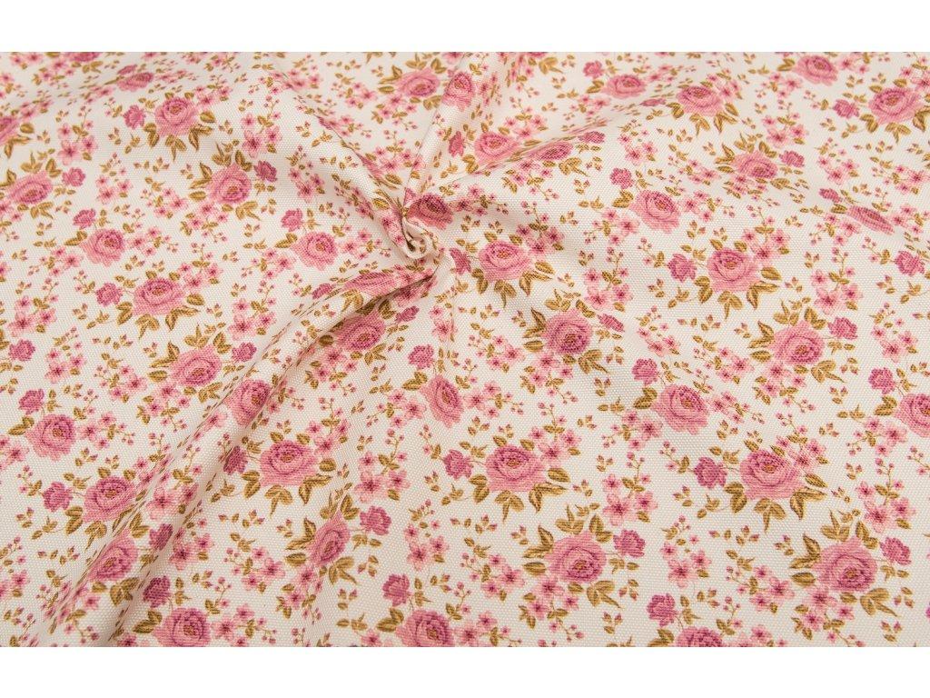 Dekorační látka - Sonja růžička růžová
