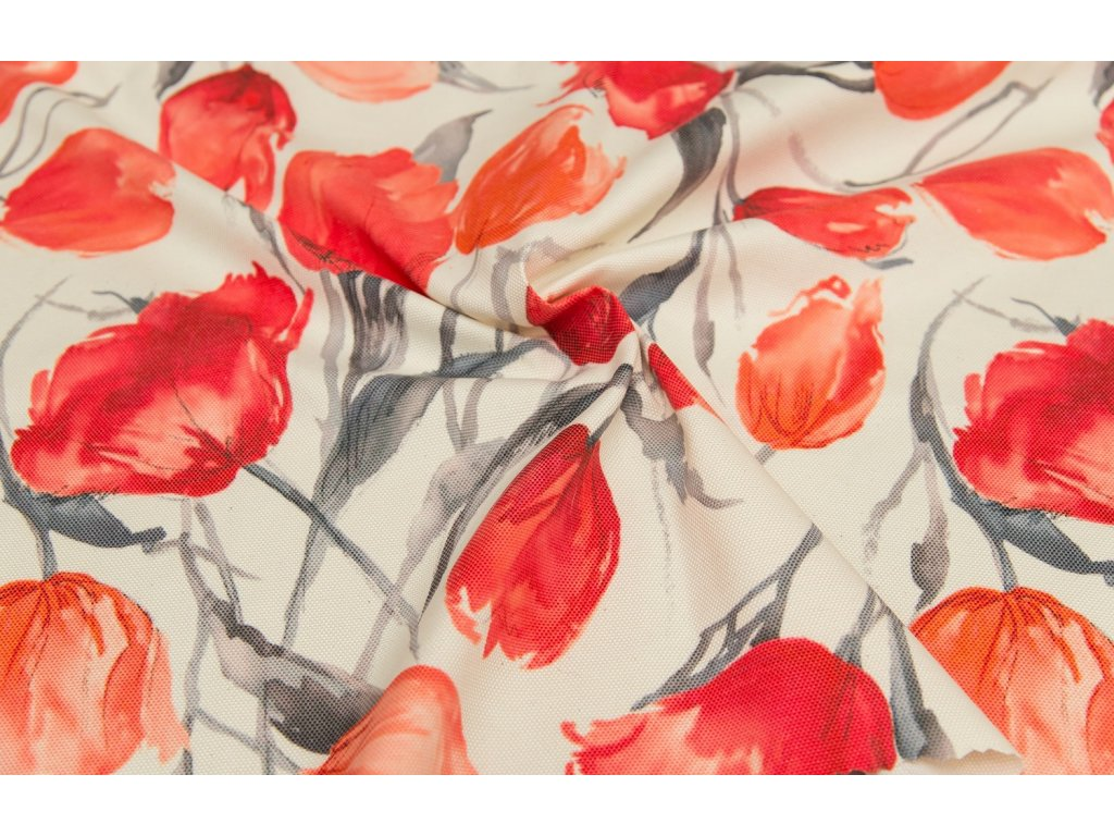 Dekorační látka - Sonja červený tulipán