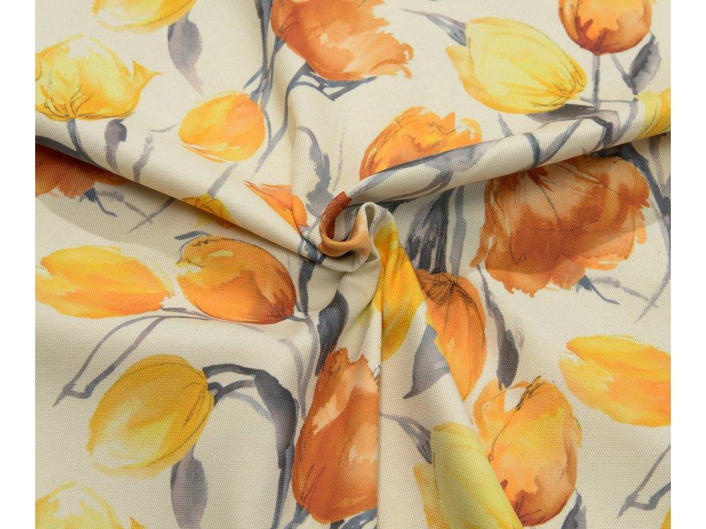 Dekorační látka - Sonja žlutý tulipán