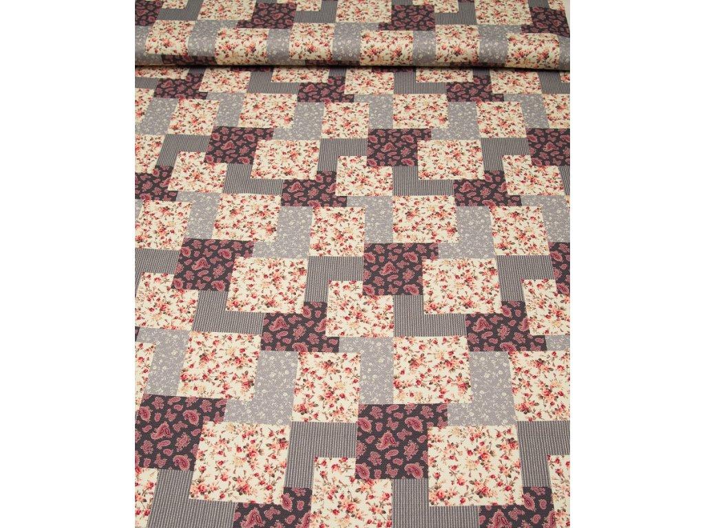 Dekorační látka - Sonja šedý patchwork