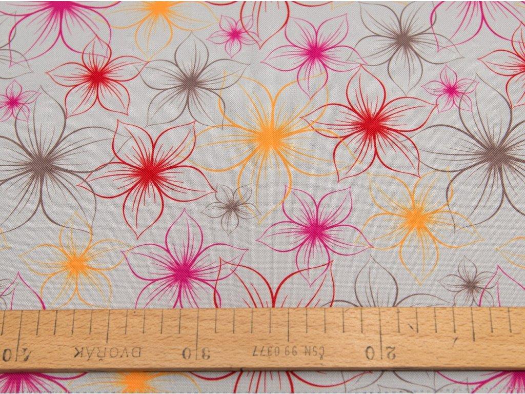 Kočárkovina metráž šíře 160 cm, nepromokavá látka, vzor květ na světle šedé