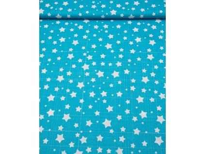 Kočárkovina metráž šíře 160 cm, nepromokavá látka, vzor hvězdy modré