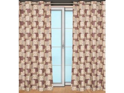 Hotový závěs Sonja, šířka 155cm, smetanový podklad - vzor béžový patchwork