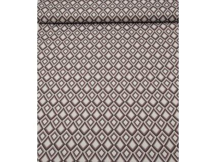 Kočárkovina metráž šíře 160 cm, nepromokavá látka, vzor kosočtverce béžové