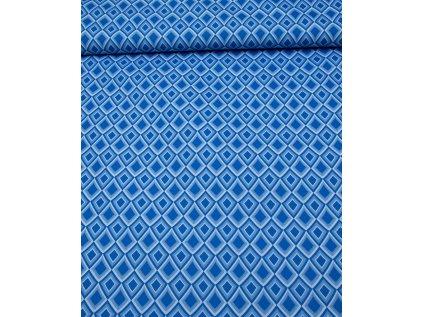 Kočárkovina metráž šíře 160 cm, nepromokavá látka, vzor kosočtverce modré