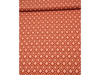 Kočárkovina metráž šíře 160 cm, nepromokavá látka, vzor kosočtverce oranžové