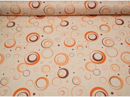 Látka s nešpinivou úpravou šíře 160 cm, kolečka oranžové