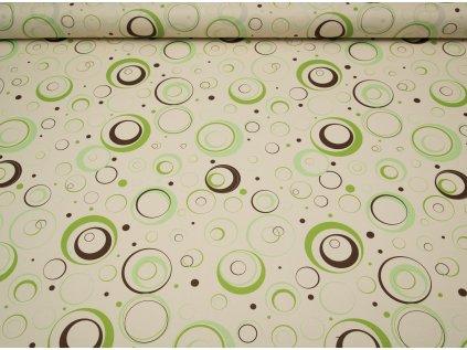 Látka s nešpinivou úpravou šíře 160 cm, kolečka zelené