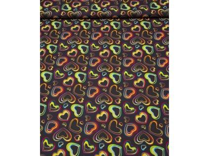Kočárkovina metráž šíře 160 cm, nepromokavá látka, vzor černé srdce