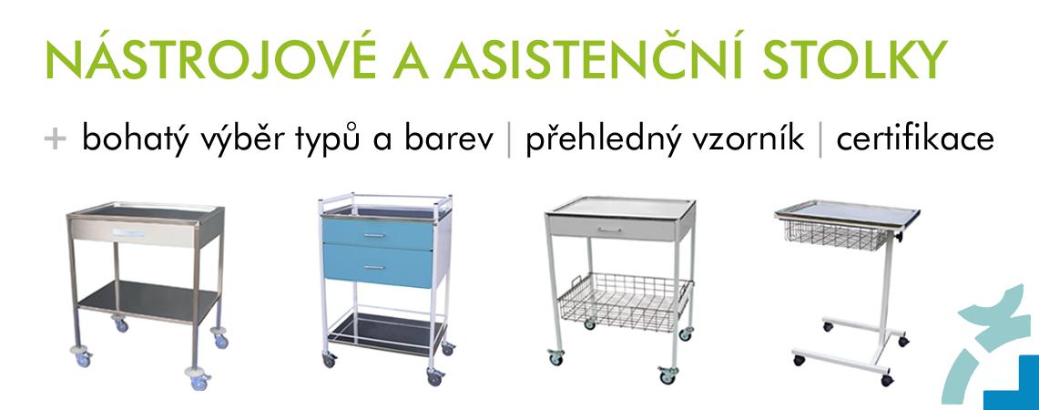 Nástrojové a asistenční stolky do ordinace a zdravotnických zařízení