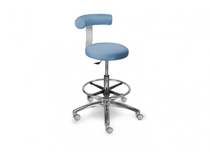 Zdravotnická stolička vysoká otočná se zádovou opěrkou MEDI 1283 G Dent (Barva sedáku ATLANTA - 26 T4, Typ koleček Měkká na tvrdé podlahy (standard))