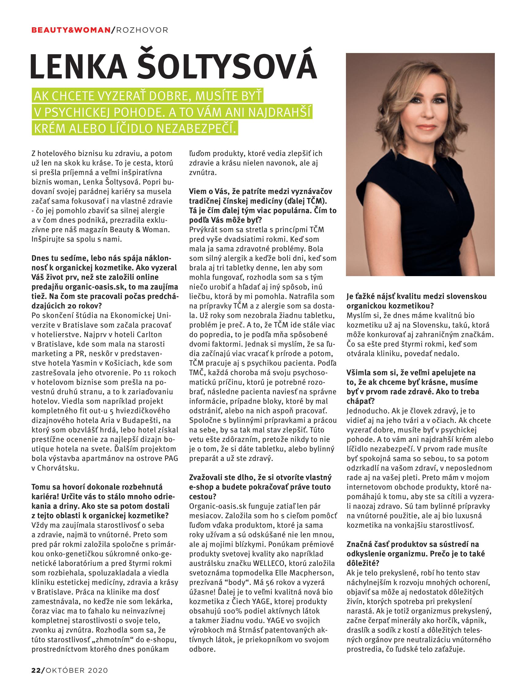 Beauty & Woman - Interview so zakladateľkou Organic Oasis Lenkou Šoltysovou