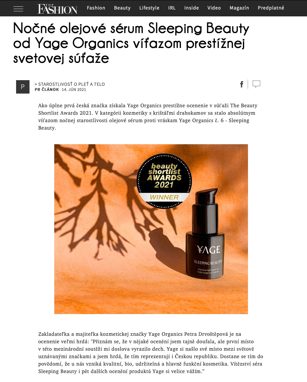 Top Fashion - Nočnýpleťový olej Sleeping Beauty od Yage Organics víťazom prestížnej svetovej súťaže