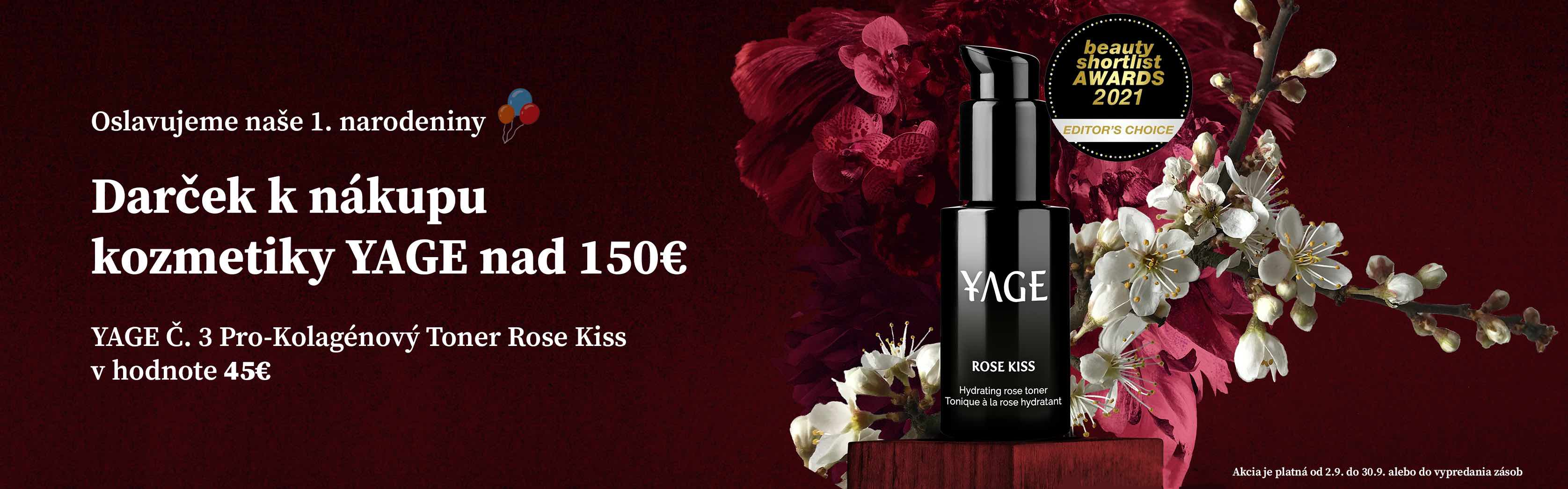 Darček YAGE Toner Rose Kiss v hodnote 45€ k nákupu kozmetiky YAGE nad 150€