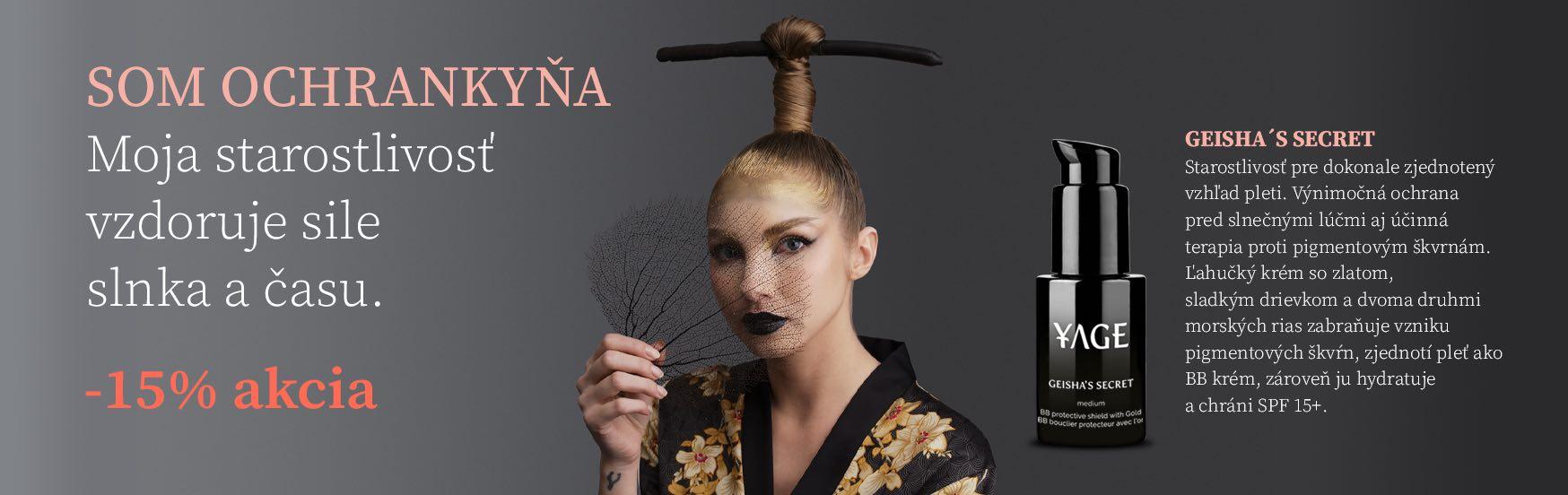 AKCIA YAGE Č. 9 BB Krém so Zlatom a SPF 15+ proti Pigmentácii Geisha's Secret