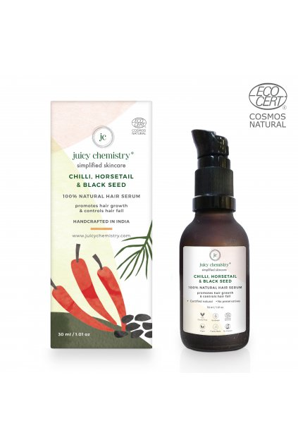 CHILLI, HORSETAIL & BLACK SEED BOX AND BOTTLE natural hair serum
