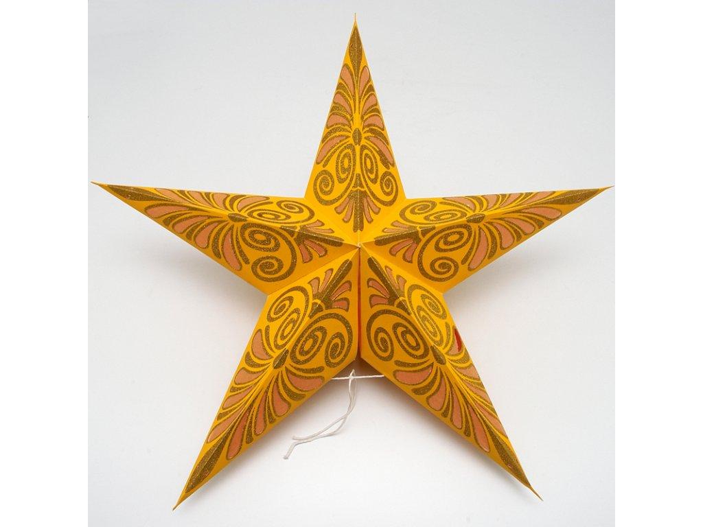 Lampion stínidlo hvězda Kashi žlutá