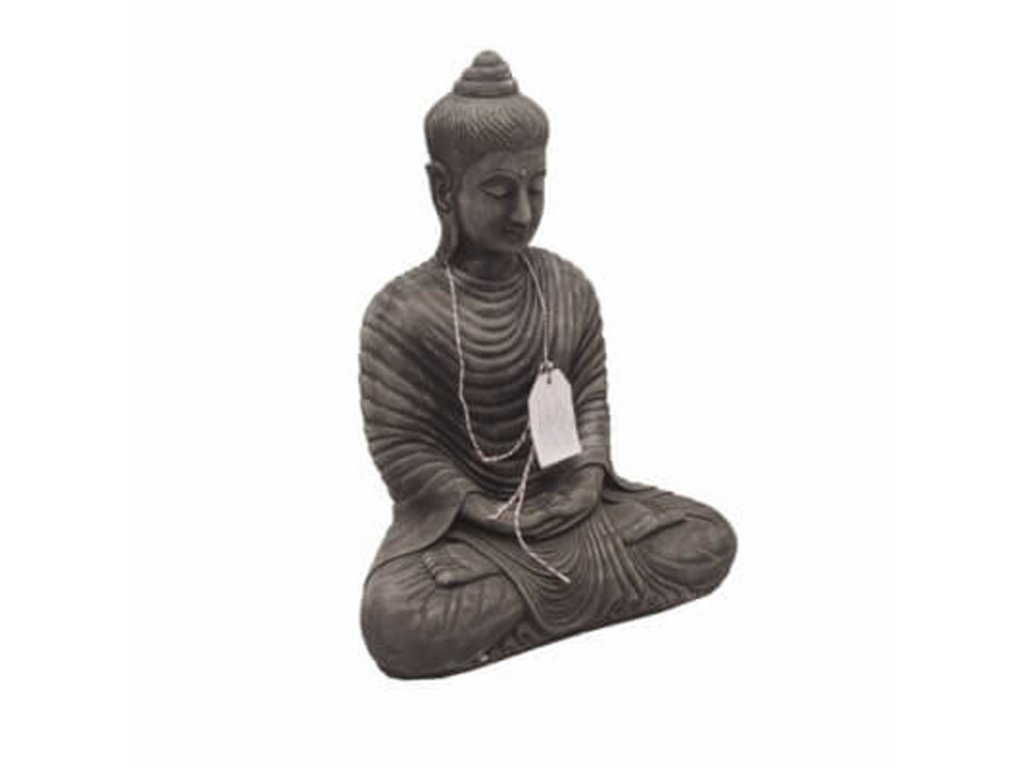 Soška beton Buddha Meditation 61 cm šedá